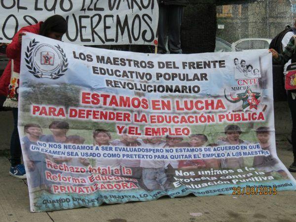 MANTA DE RECHAZO A LA REFORMA EDUCATIVA