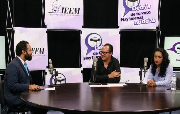 En el programa de radio por internet del IEEM, Detrás de tu voto hay buenas noticias, participaron Denisse Lugo y Yeshua Sanyassi López, representantes del partido Nueva Alianza (NA).